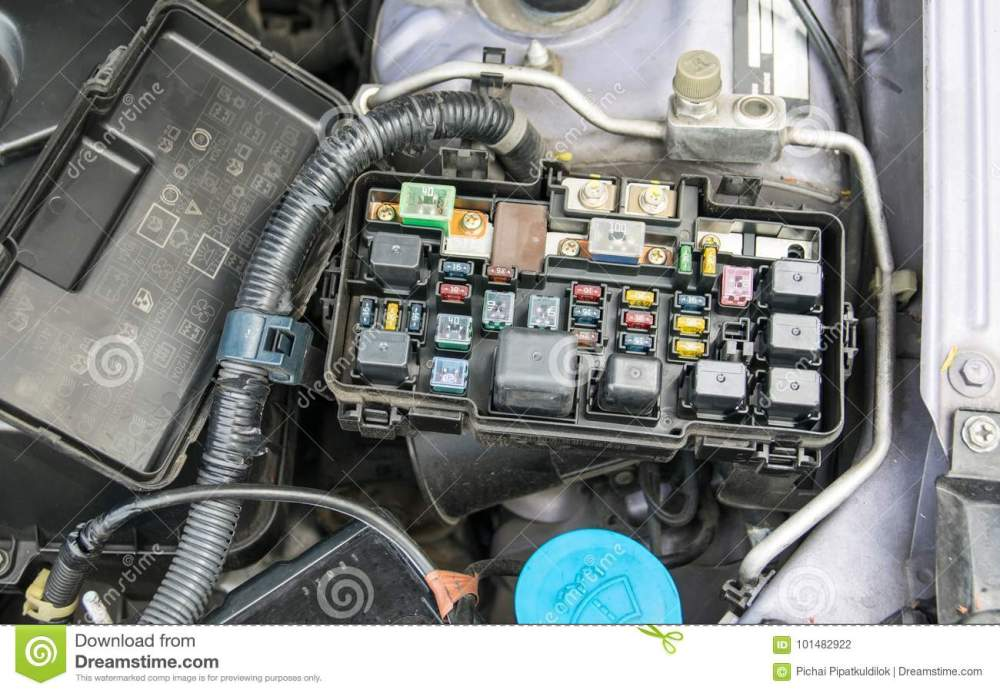 medium resolution of fuse box stock photo image of electrical electronics 101482922detail of a car engine bay with