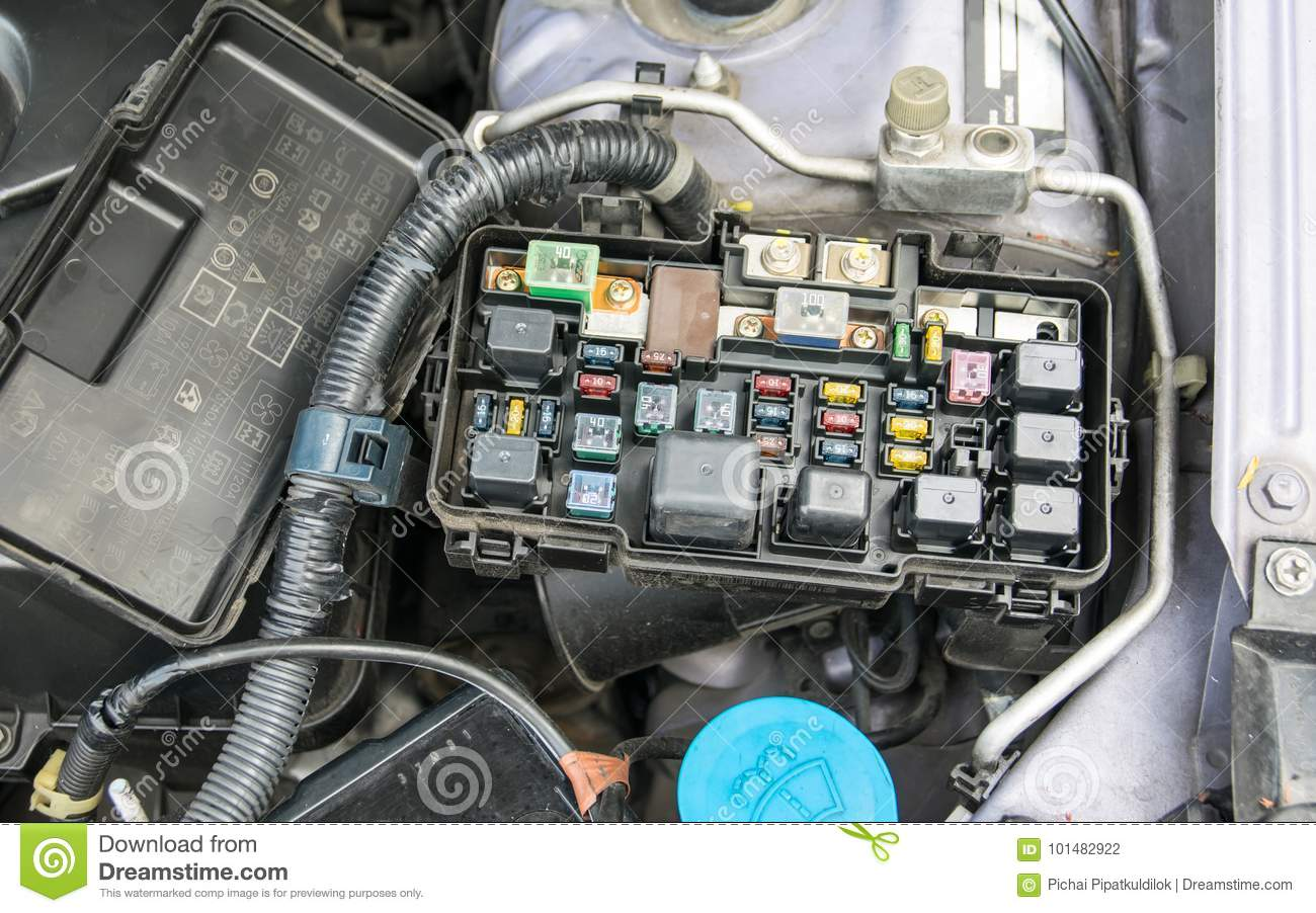 hight resolution of fuse box stock photo image of electrical electronics 101482922detail of a car engine bay with