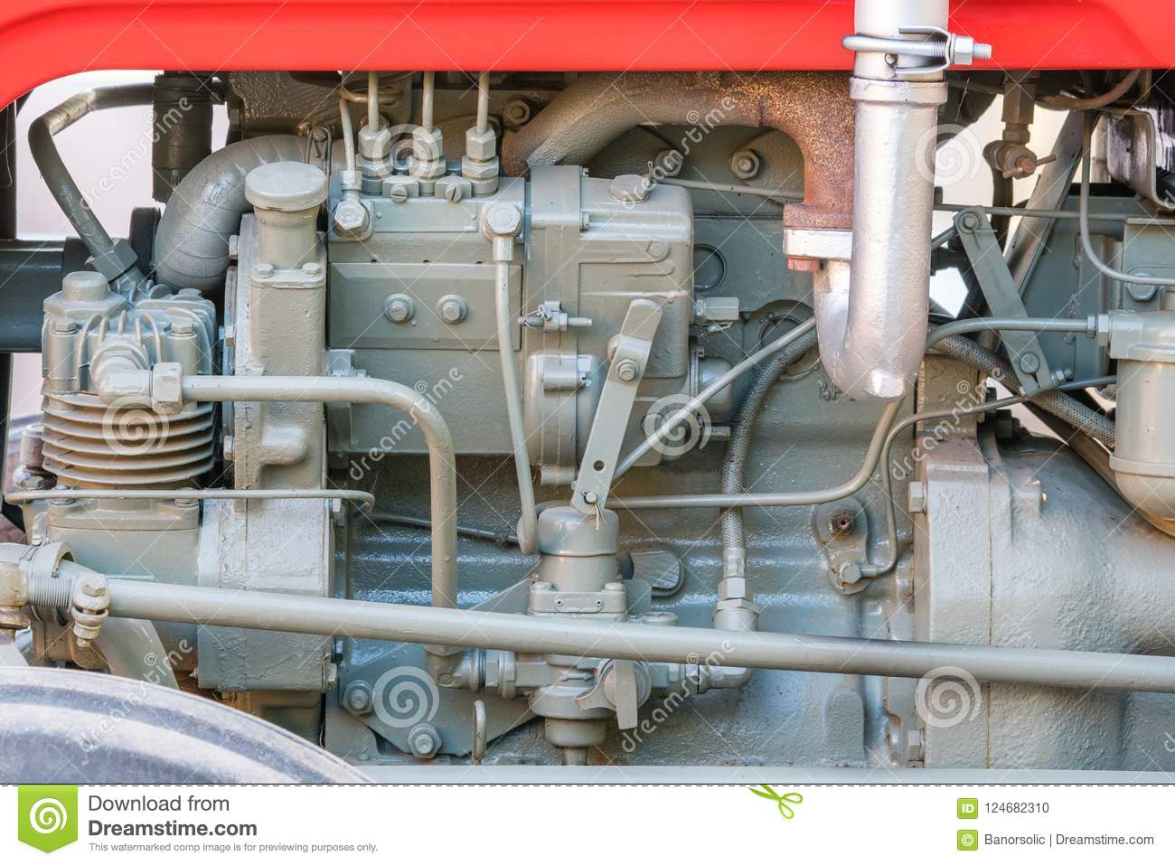 hight resolution of detail of old tractor machine or engine whit visible fuel pump air compressor