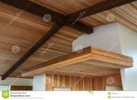 Detail Of Wood Beam Ceiling In A Modern House Entryway ...