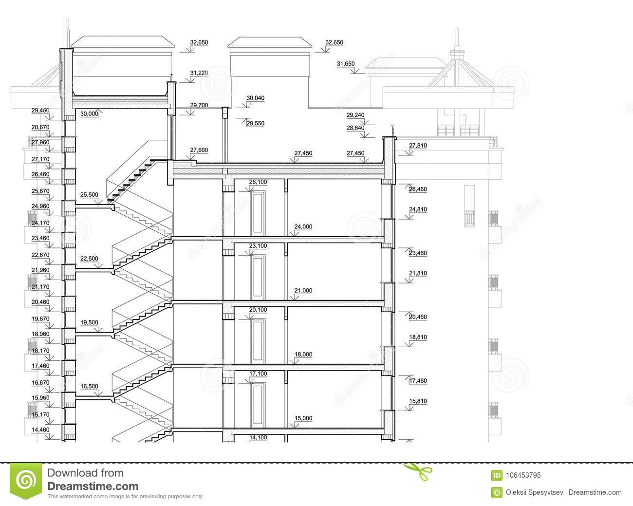 Detailed Architectural Plan Of Multistory Building Cross Section View Vector Blueprint Stock