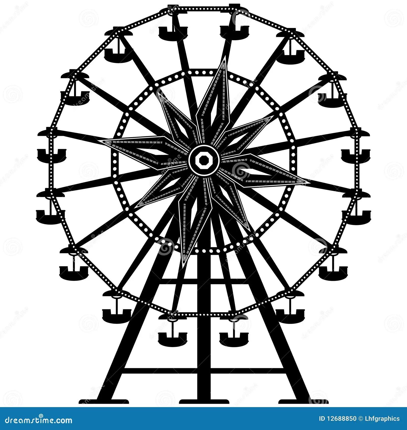 Detailed Ferris Wheel In Silhouette Stock Vector