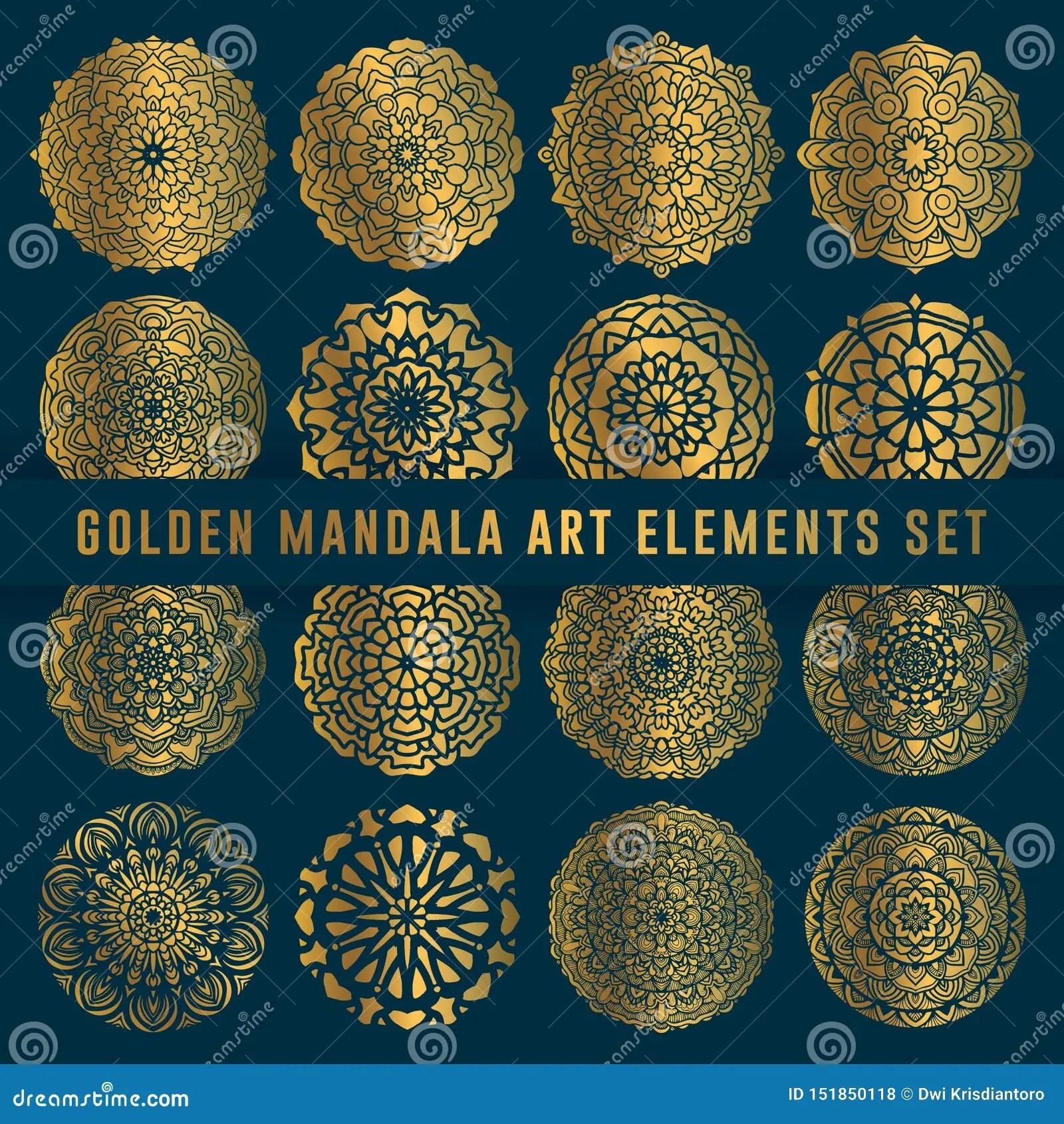 Detailed Golden Mandala Art Set Element Vintage Mandala