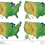 Four Versions Of Physical Map Of United States Stock Illustration Illustration Of Island America 30309712