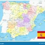 Detailed Political Map Of Spain Stock Vector Illustration Of Atlantic Barcelona 175234173
