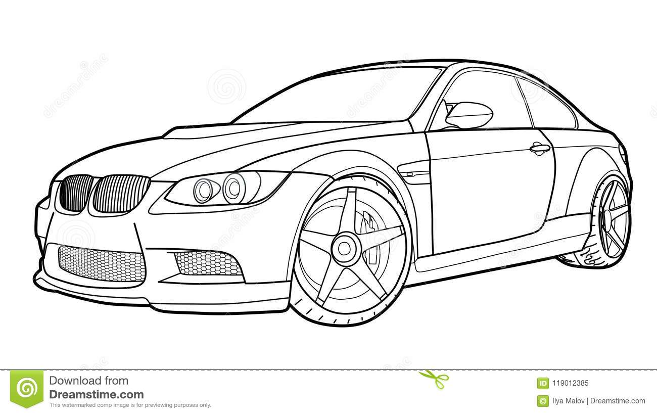 Vector Draw Of A Flat Sport Car With Black Lines Stock