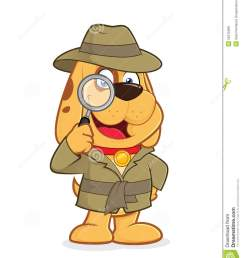 clipart picture of a detective dog cartoon character [ 1130 x 1300 Pixel ]