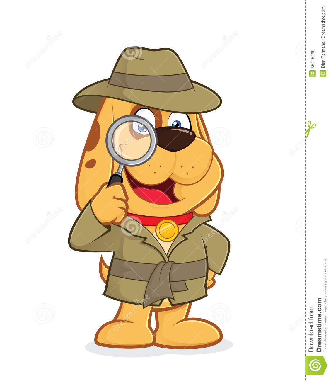 hight resolution of clipart picture of a detective dog cartoon character