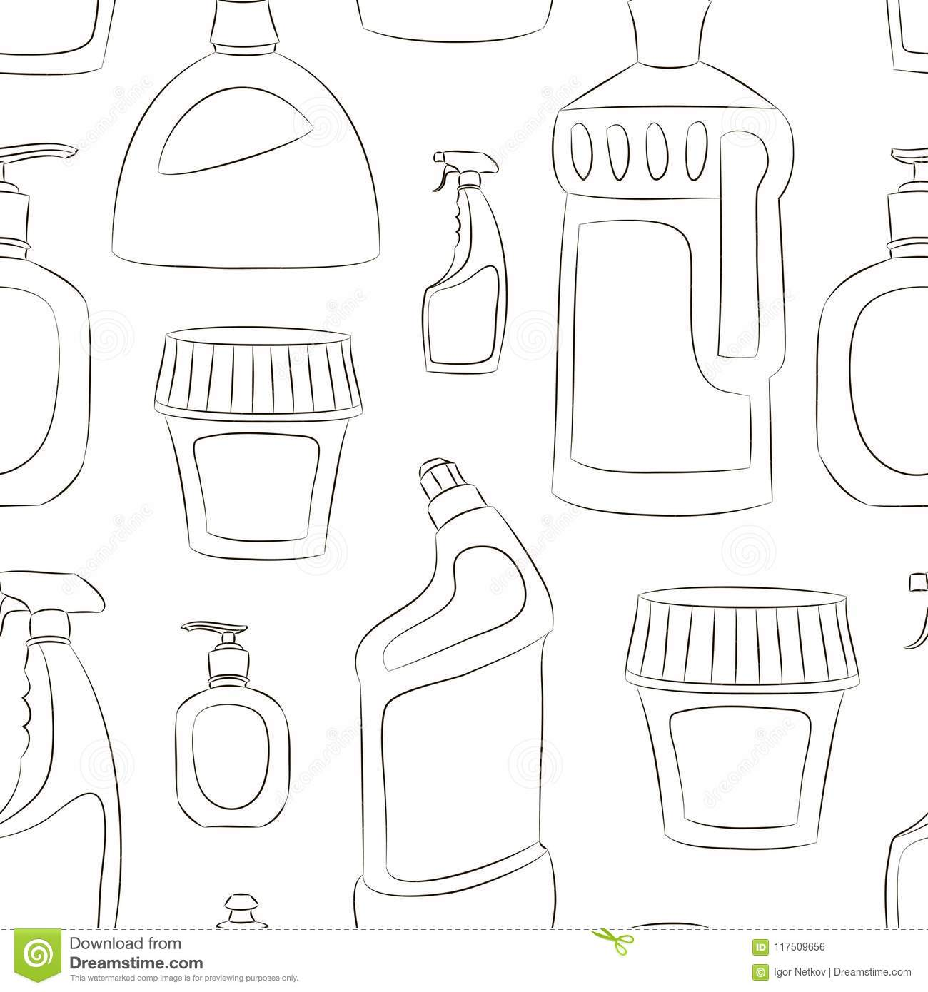 Detergent Bottles Collection Pattern Stock Vector