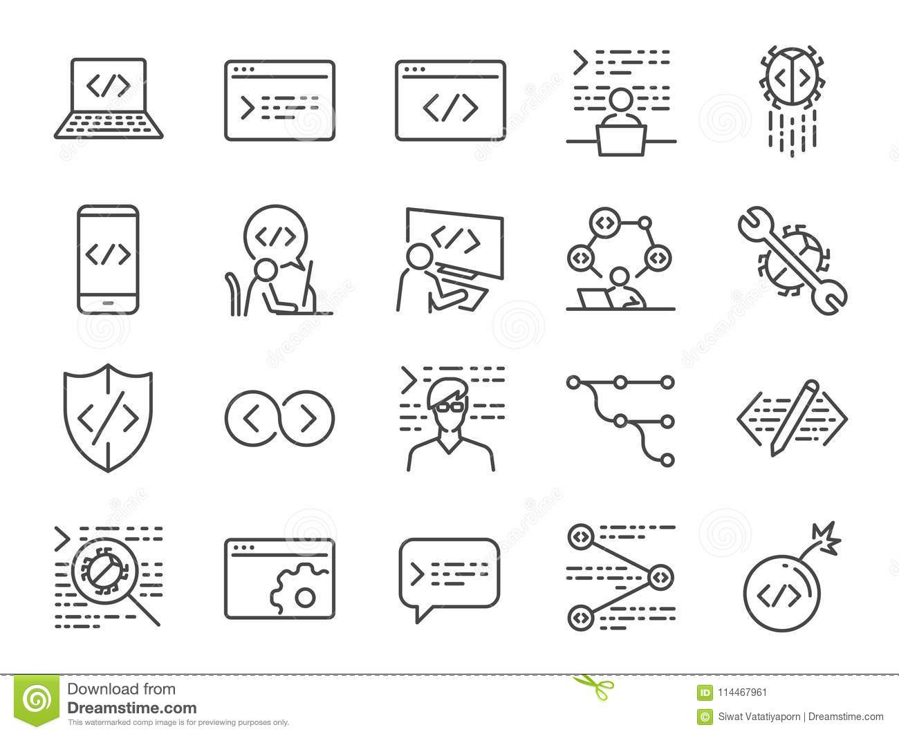Developer Icon Set. Included The Icons As Code, Programmer