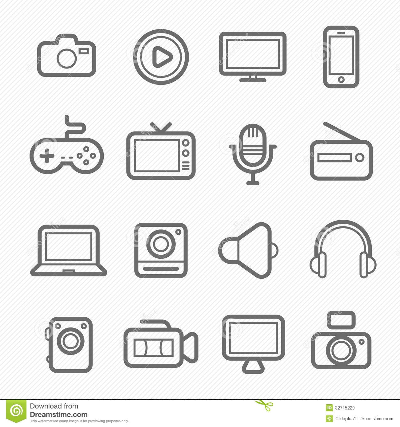 Device And Multimedia Symbol Line Icon Royalty Free Stock