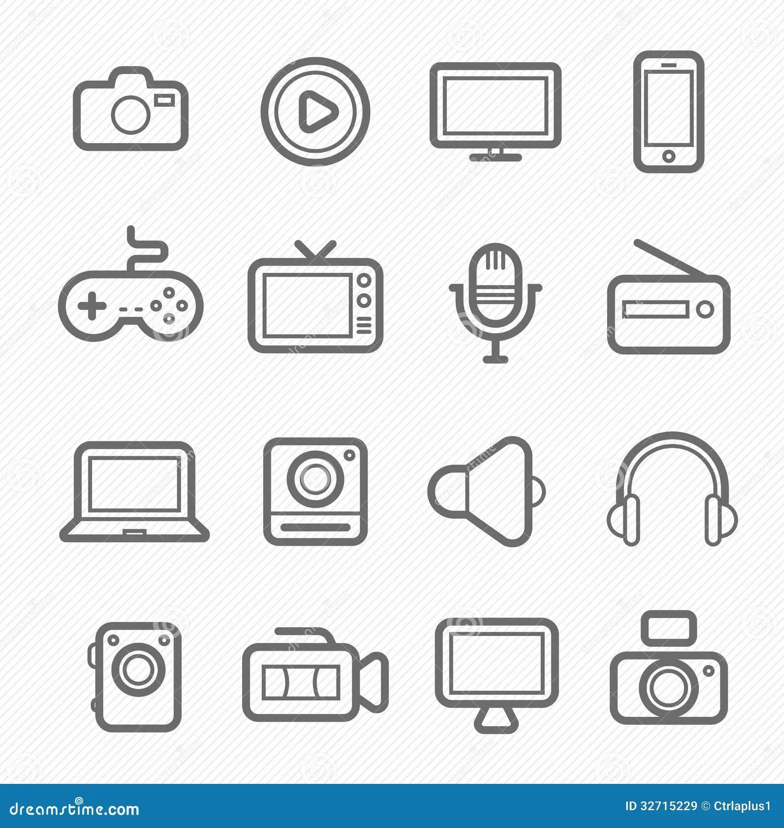 Device And Multimedia Symbol Line Icon Stock Vector