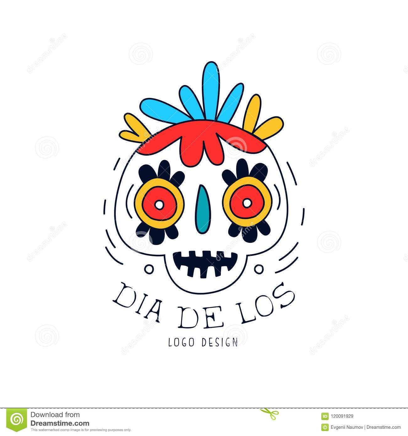 hight resolution of dia de los logo mexican day of the dead holiday poster with sugar skull and