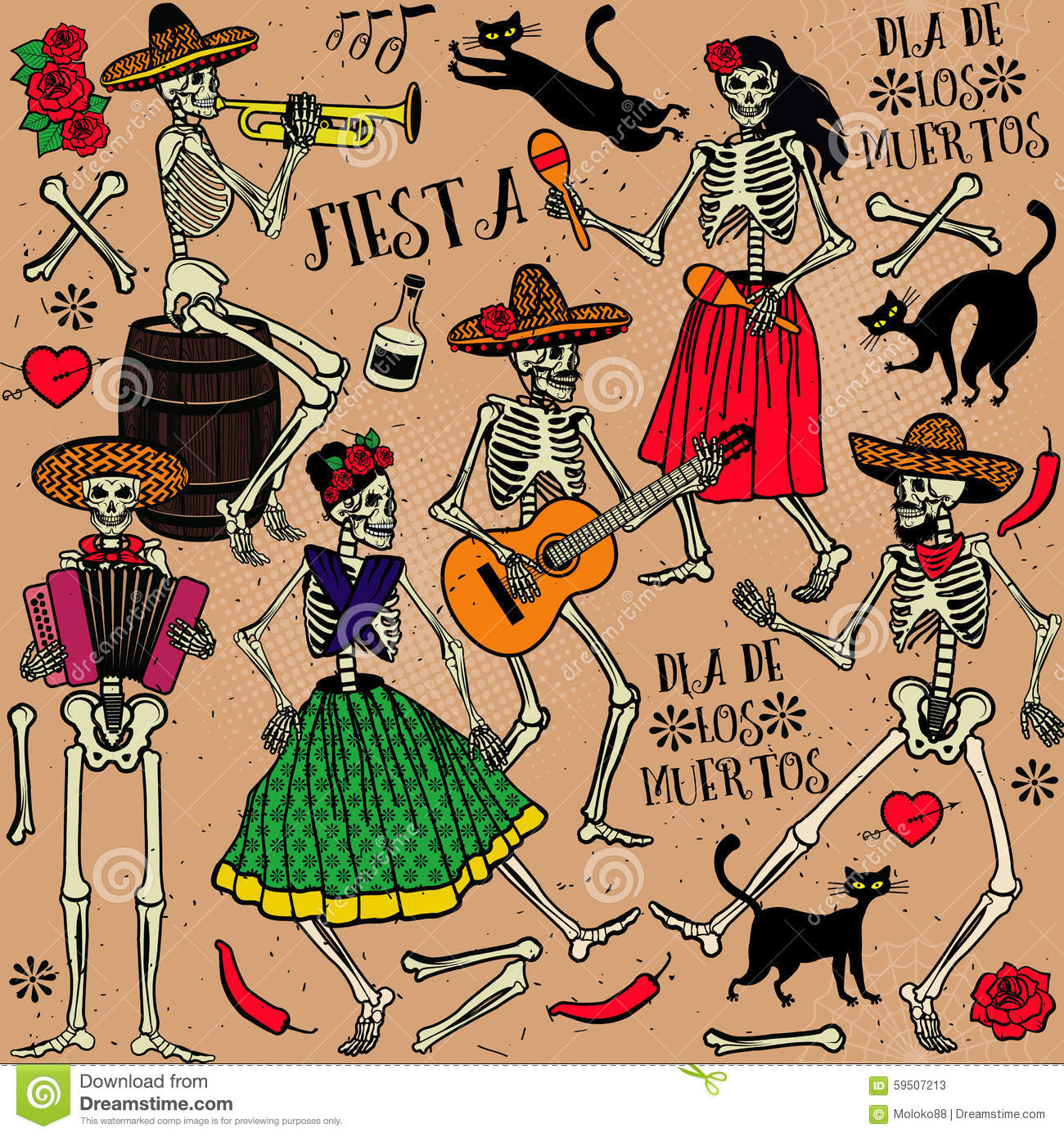hight resolution of day of the dead the skeleton dance