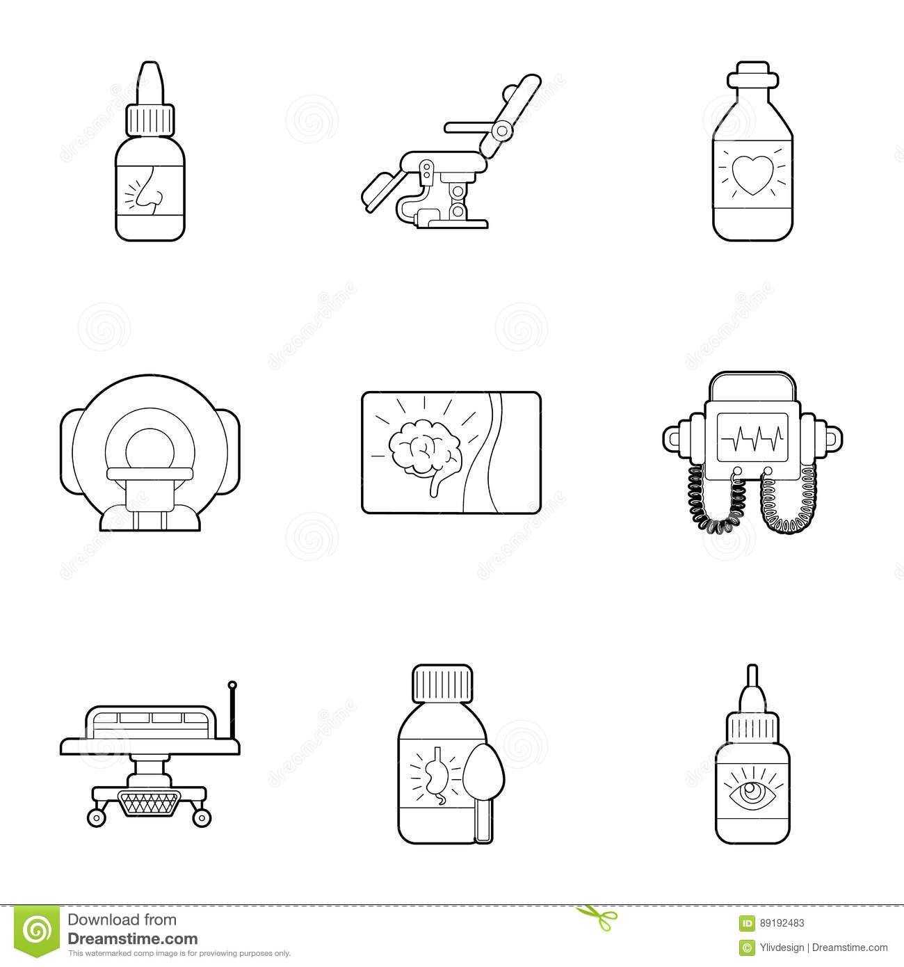 Diagnosis And Treatment Of Diseases Icons Set Stock Vector