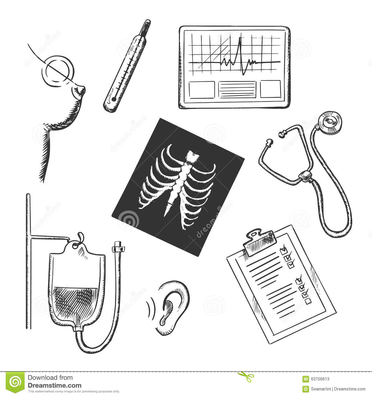 Diagnostics And Medical Test Object Sketches Stock Vector