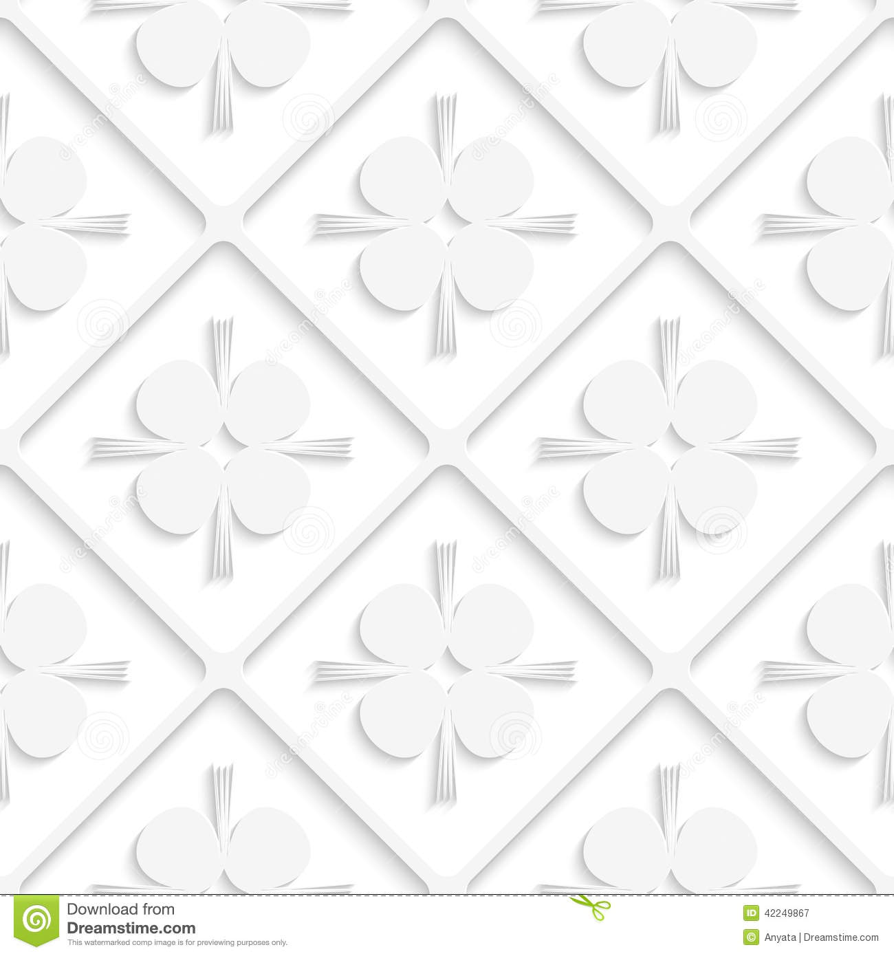 Diagonal White Square Net And Pointy Shapes Pattern Stock