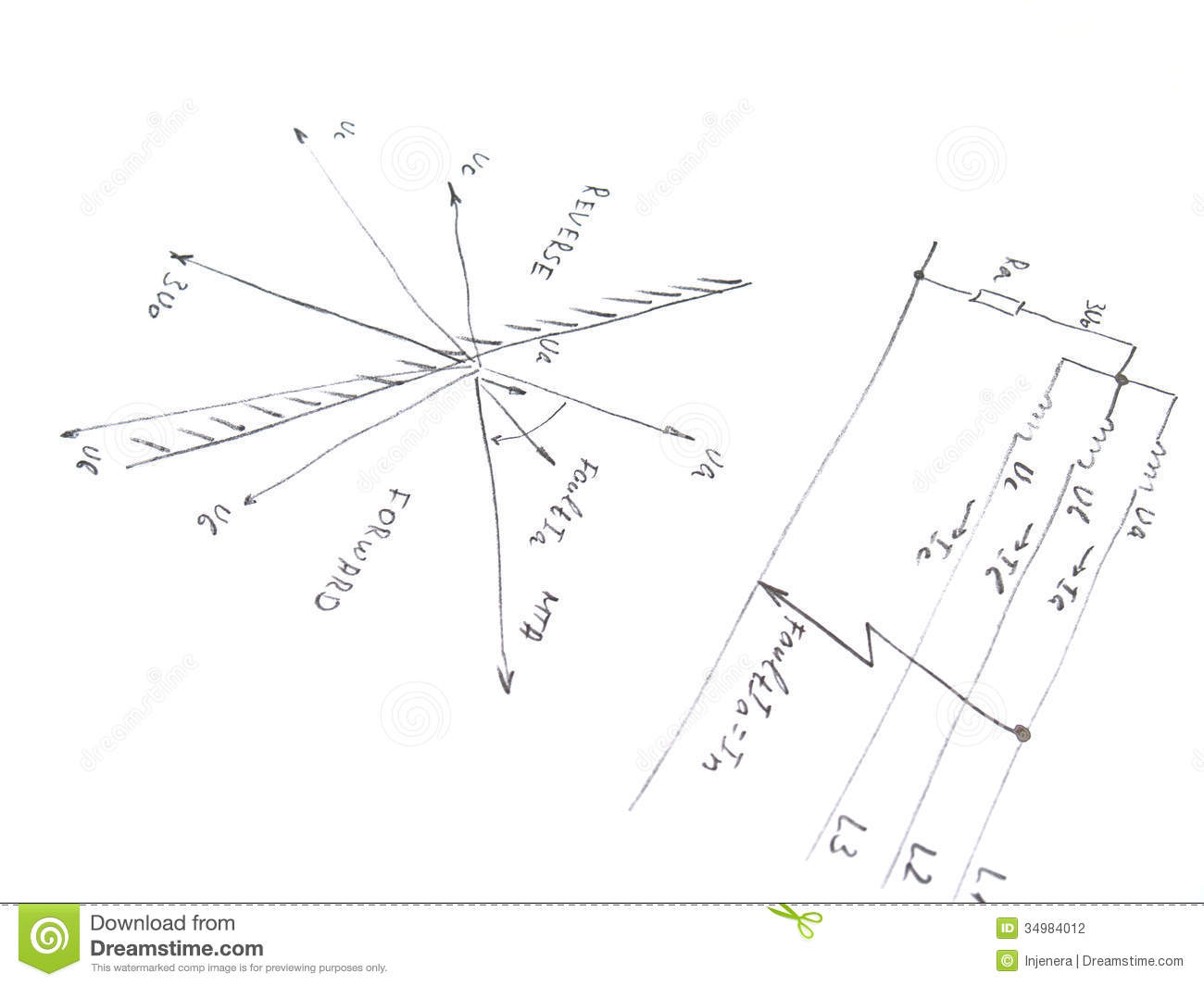 diagram with analysis of network short circuit stock photos image