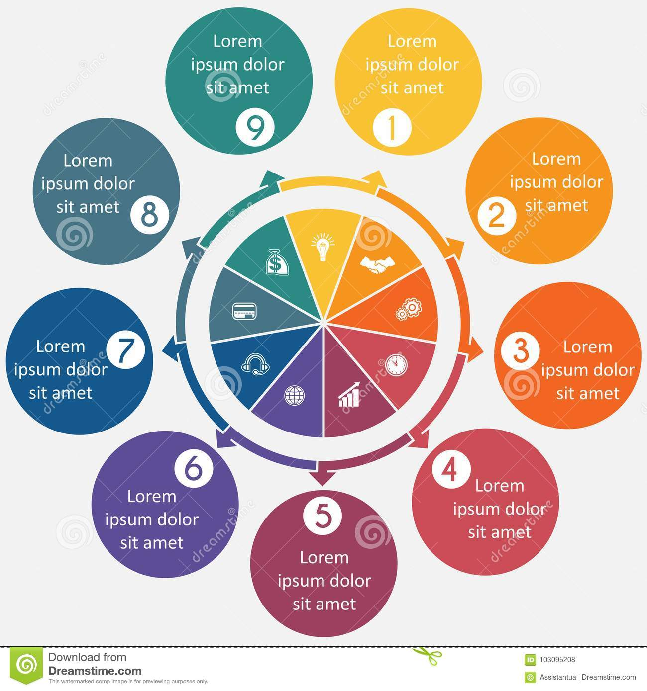 hight resolution of diagram 9 cyclic processes step by step colorful circles in a circle pie chart for workflow cycle processes diagrams business options banner