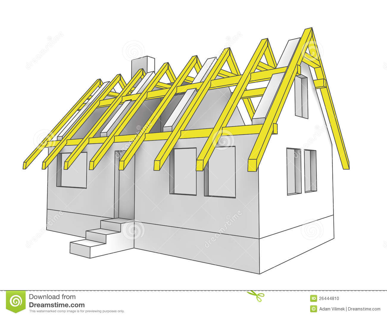roof structure diagram basic auto ignition wiring icon building of house stock illustration