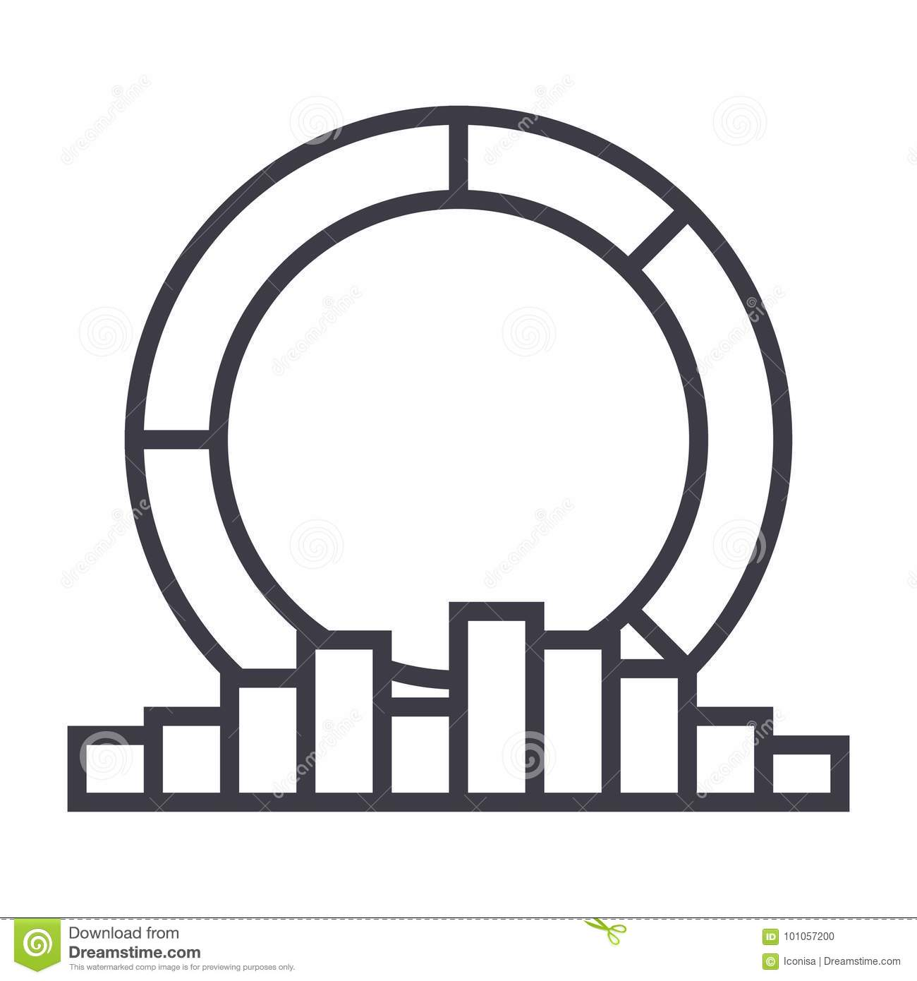 Diagram With Medal Vector Line Icon Sign Illustration On