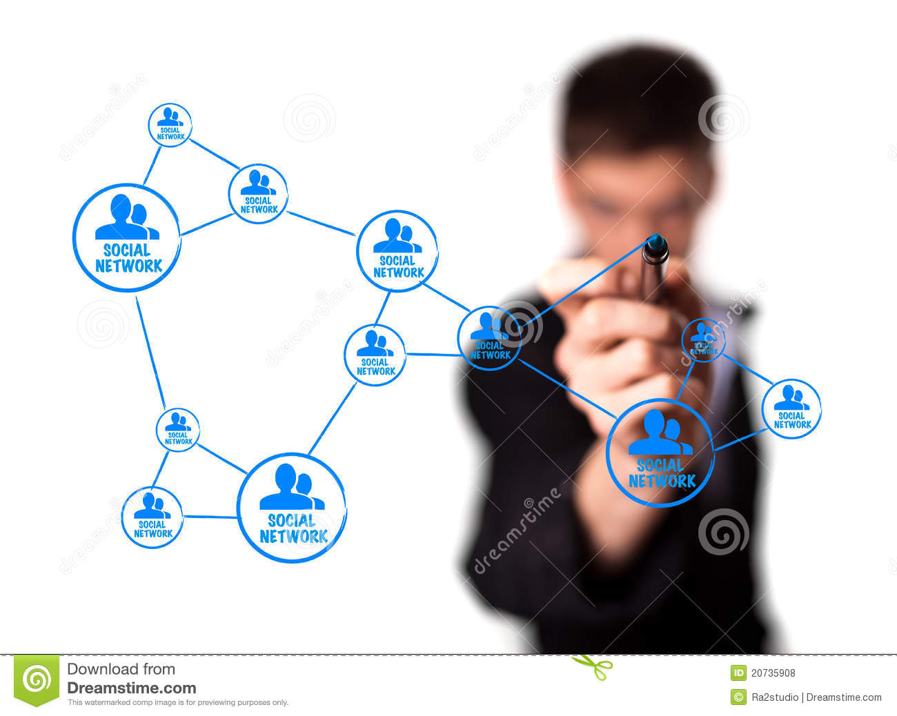 Diagram Showing Social Networking Concept Royalty Free Stock