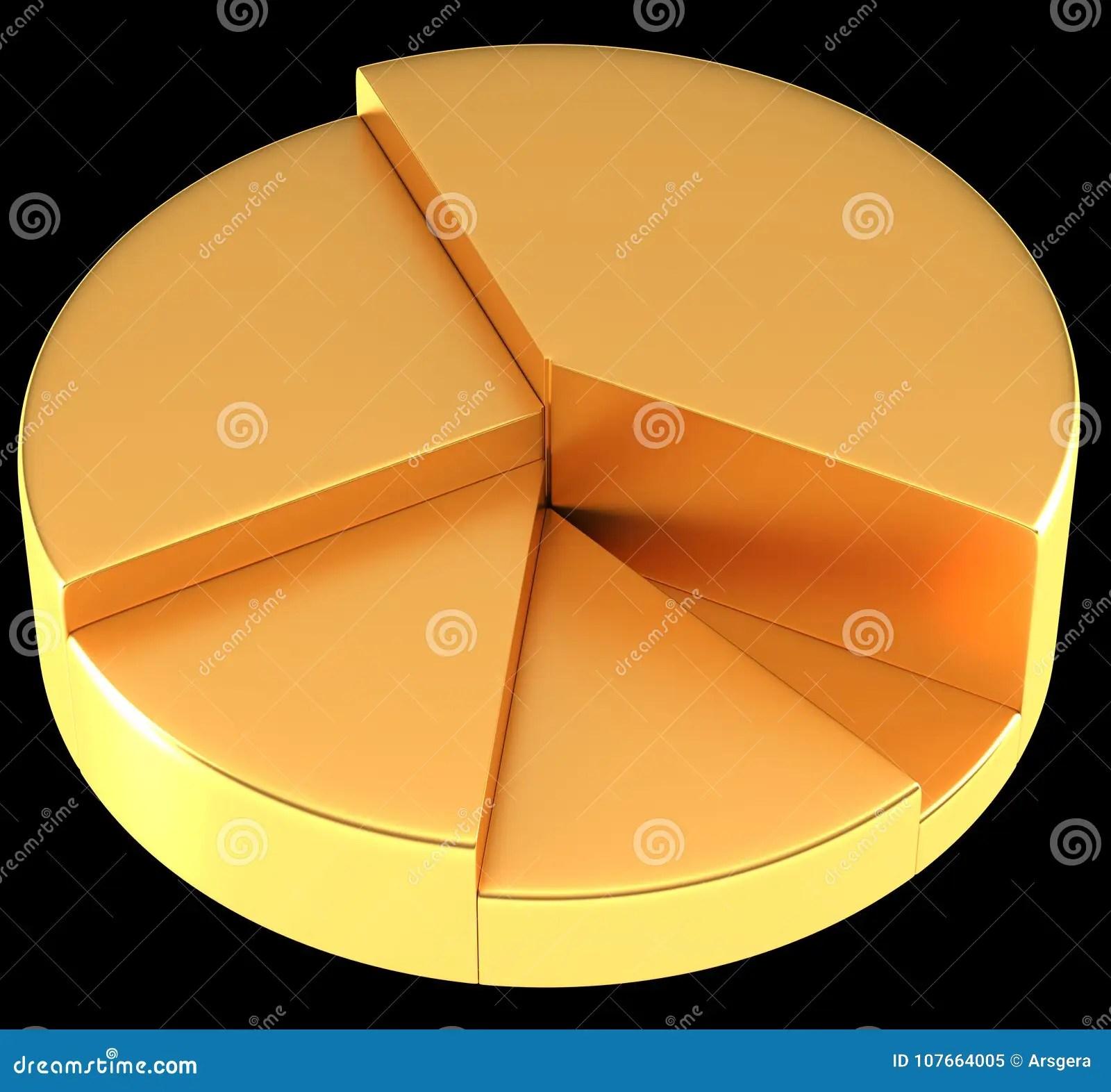 hight resolution of diagramma a torta o grafico a torta dorato lucido