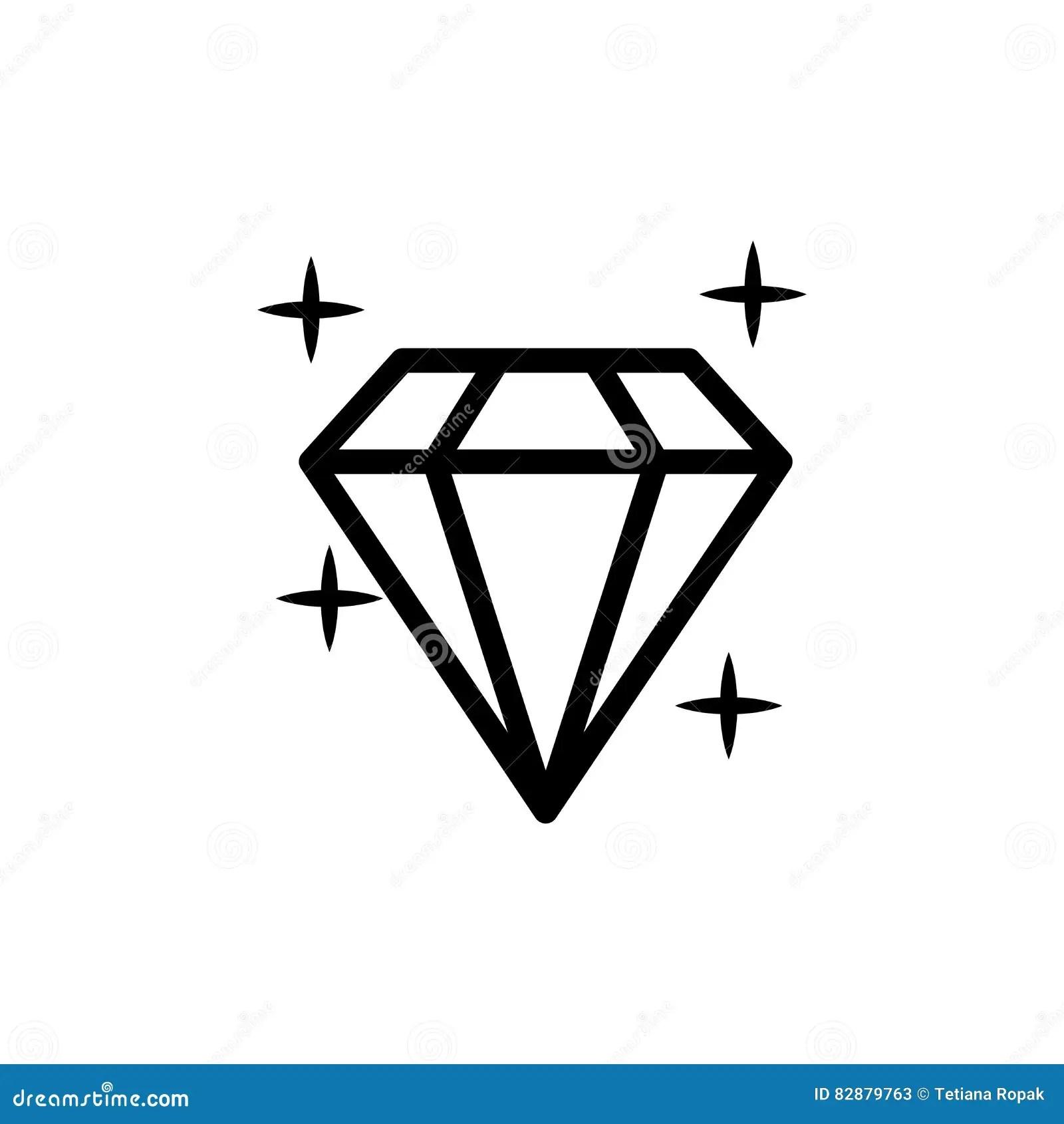 Diamond Icon Vector Illustration Shiny Crystal Sign