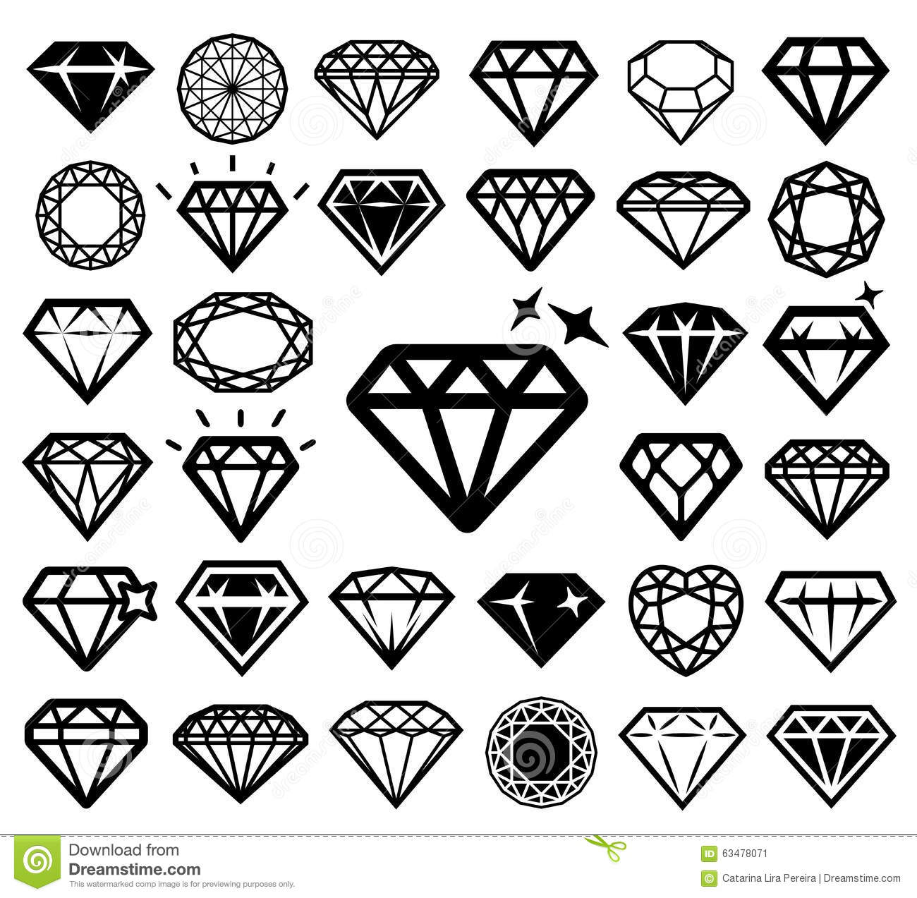 Diamond Icons Set Stock Vector Illustration Of