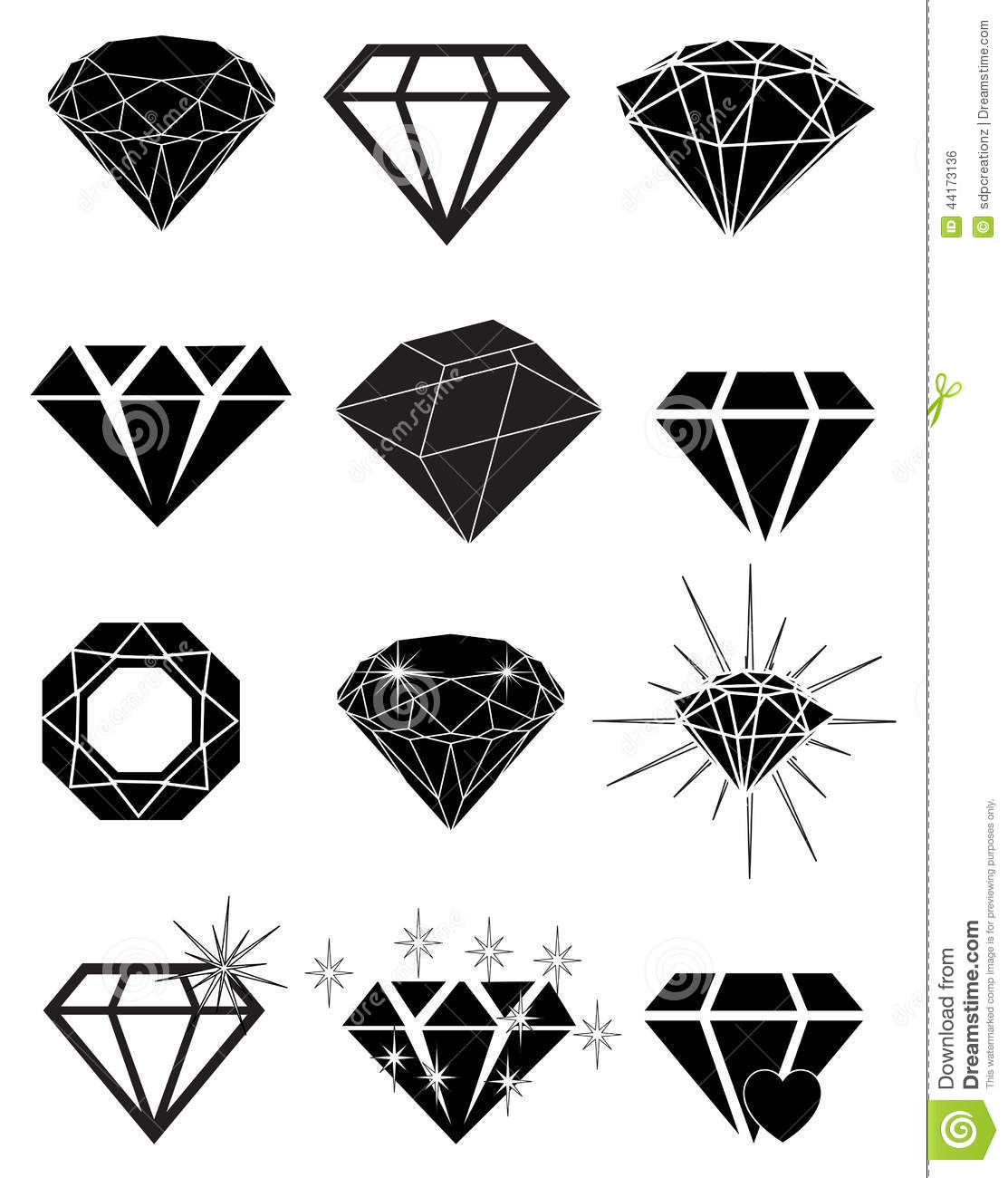 Diamond Icons Set Royalty Free Cartoon