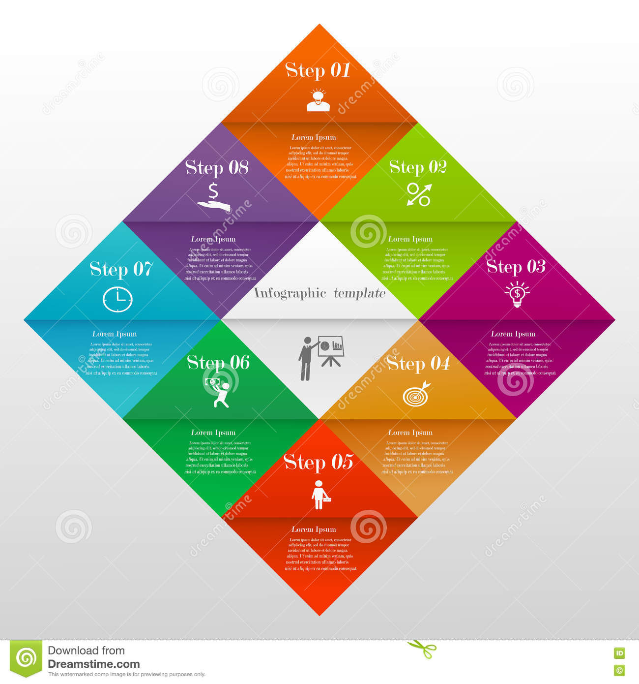 hight resolution of abstract 3d colorful divided diamond digital infographic template vector illustration can be used for workflow layout diagram number options web design
