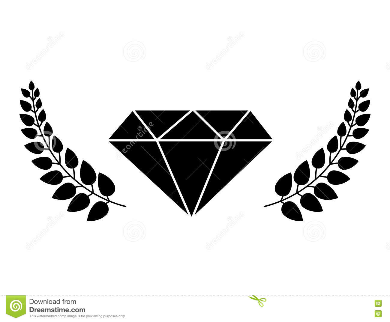 Diamond With Leaves Frame Stock Vector Illustration Of