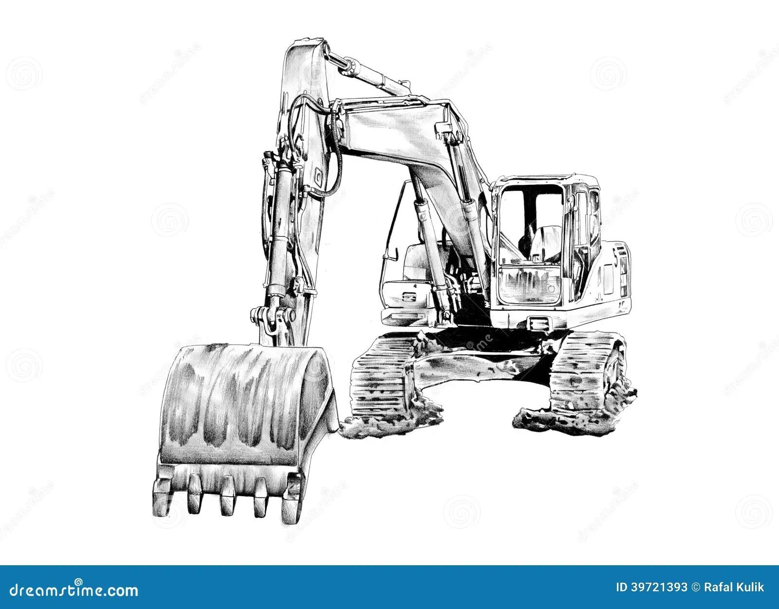 Dibujo Aislado Ejemplo Del Arte Del Excavador Stock De