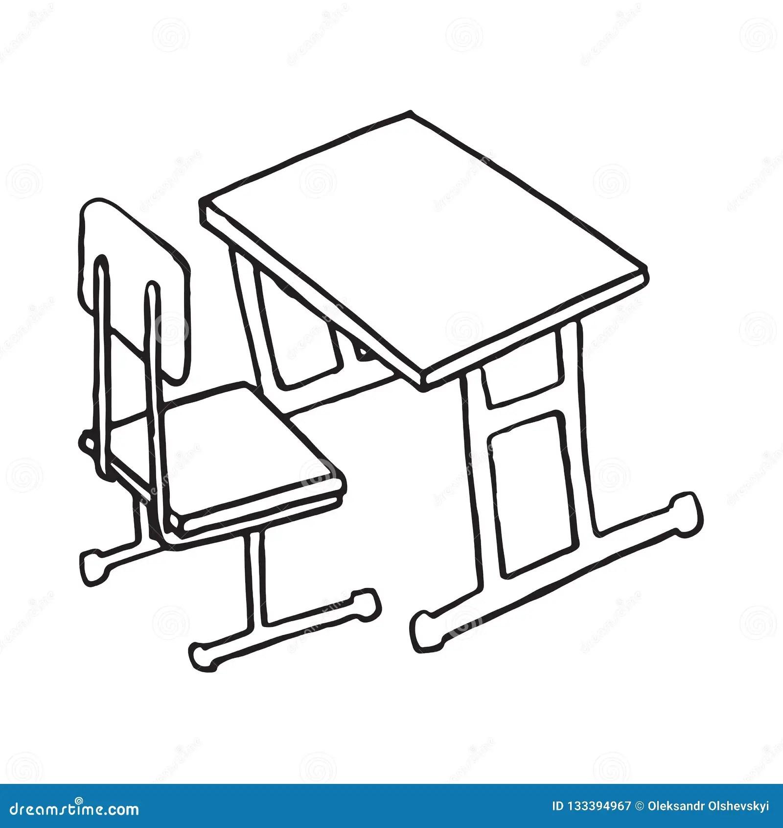 Dibujo Aislado Escritorio De La Mano De La Escuela Ilustración del Vector - Ilustración de negro. mano: 133394967