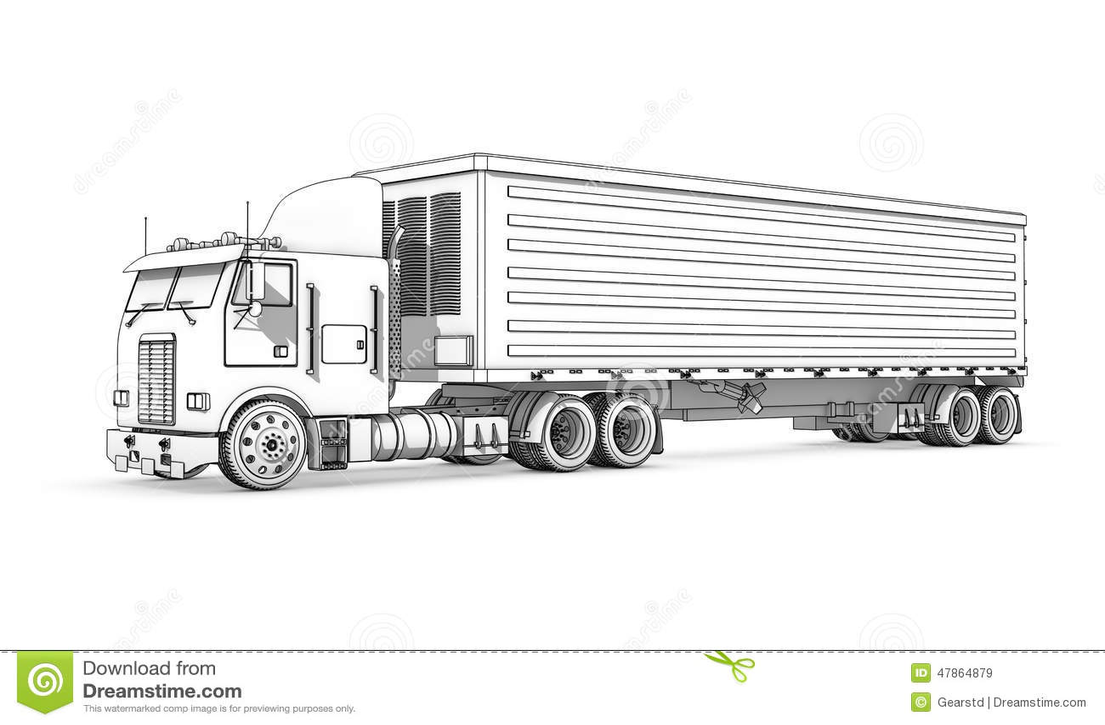 Dibujo: Bosquejo Blanco Y Negro Del Camión Stock de