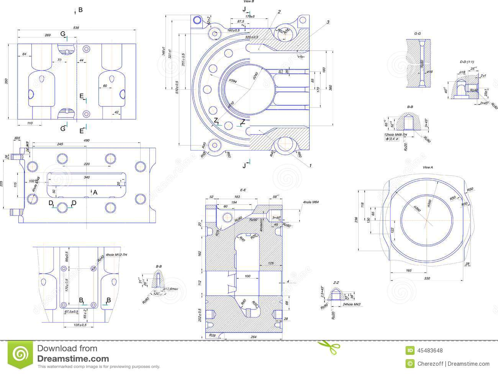 Dibujo De Ingenieria Del Equipo Industrial Stock De