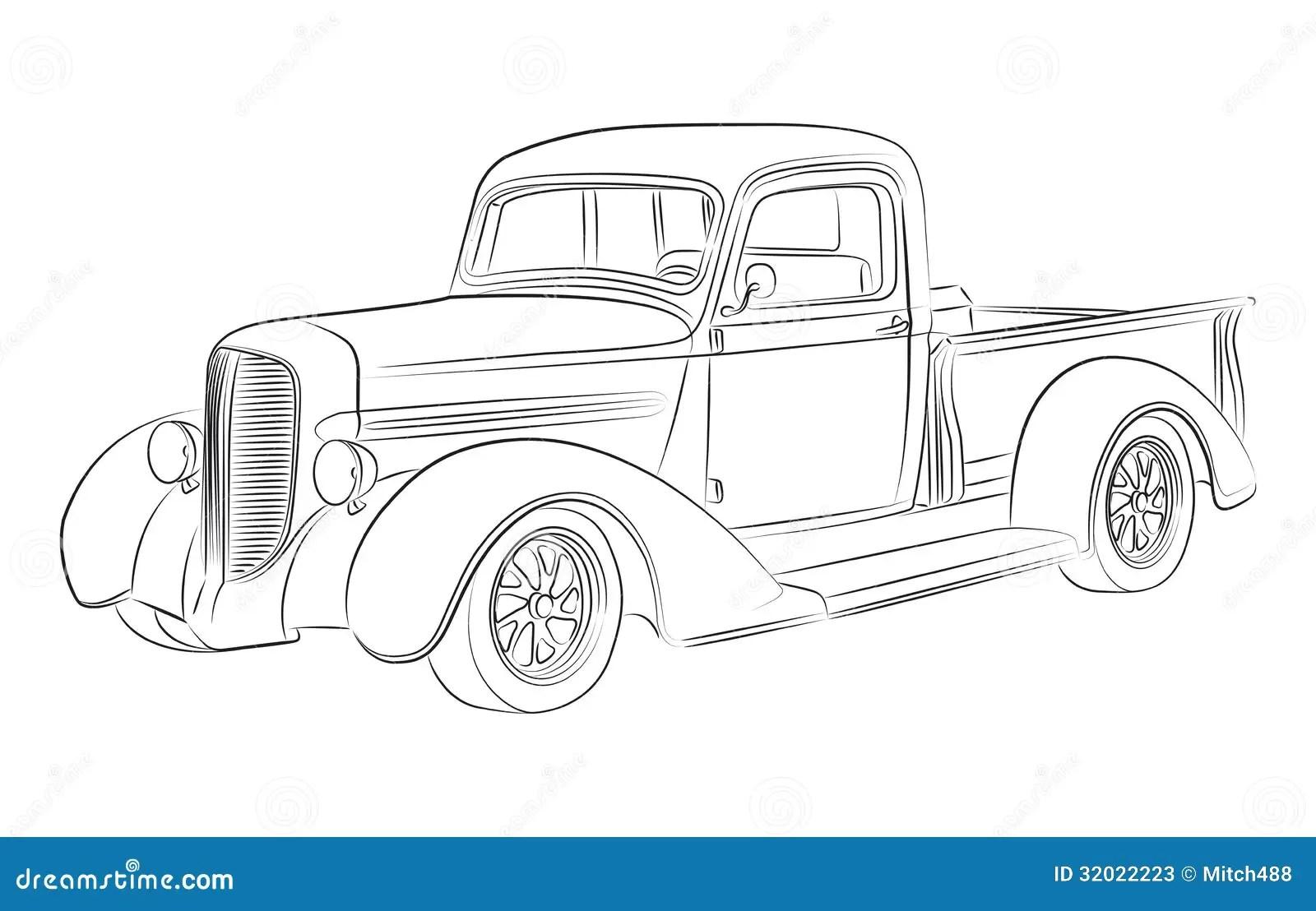 Dibujo De La Recogida De Hotrod Stock de ilustración