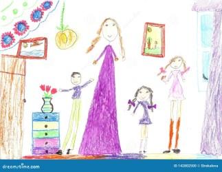 Dibujo De Los Niños De Una Familia Feliz Dentro De La Casa Ama De Casa Que Hace Tareas De Hogar Stock de ilustración Ilustración de dibujo casa: 142802500