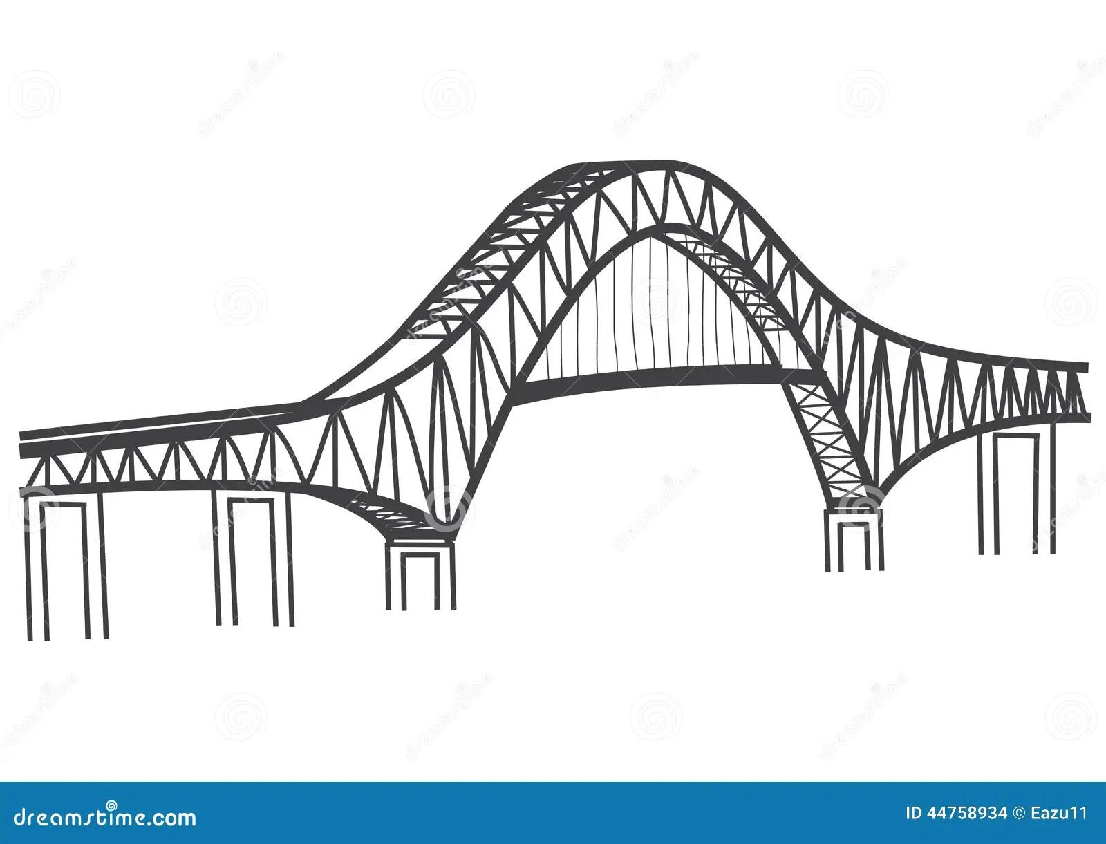 Dibujo Del Puente Canal De Las Américas, Panamá Stock de