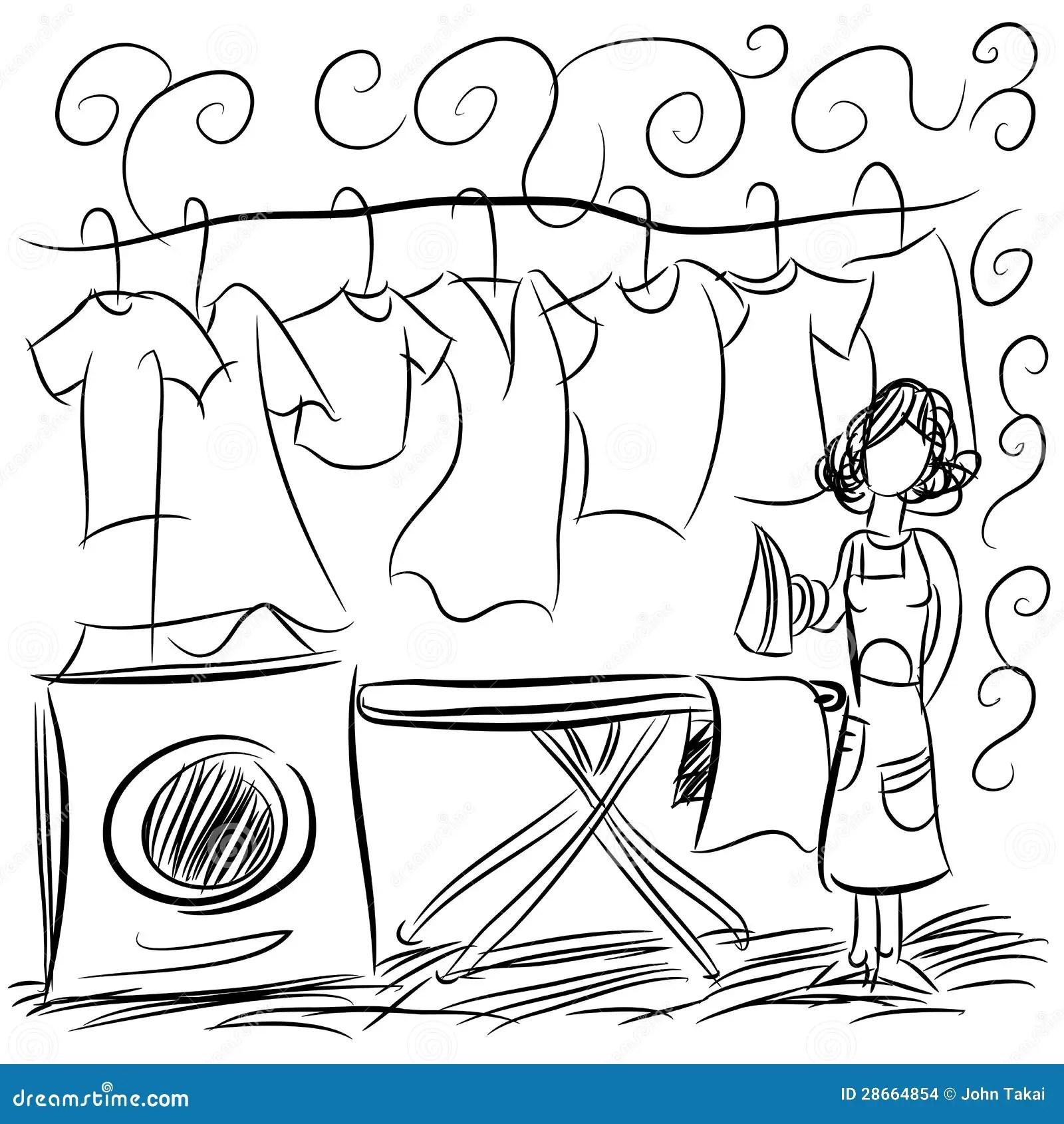 Dibujo Del Servicio De Lavadero Ilustración del Vector