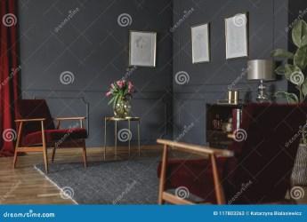 Dibujos Botánicos En Una Pared Gris Oscuro En La Esquina De Un Luxuri Imagen de archivo Imagen de pared oscuro: 117803263