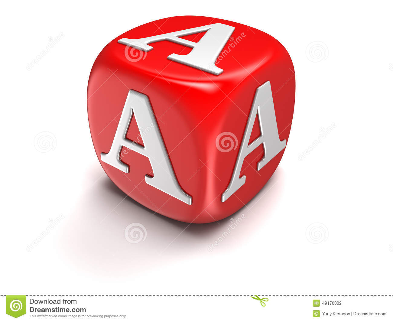 Dice With Letter A Clipping Path Included Stock