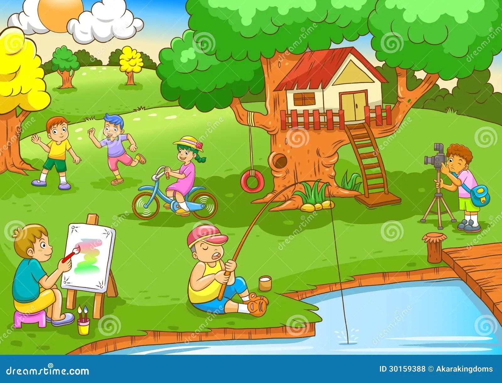 Kinder Unter Baumhaus Spielen Vektor Abbildung
