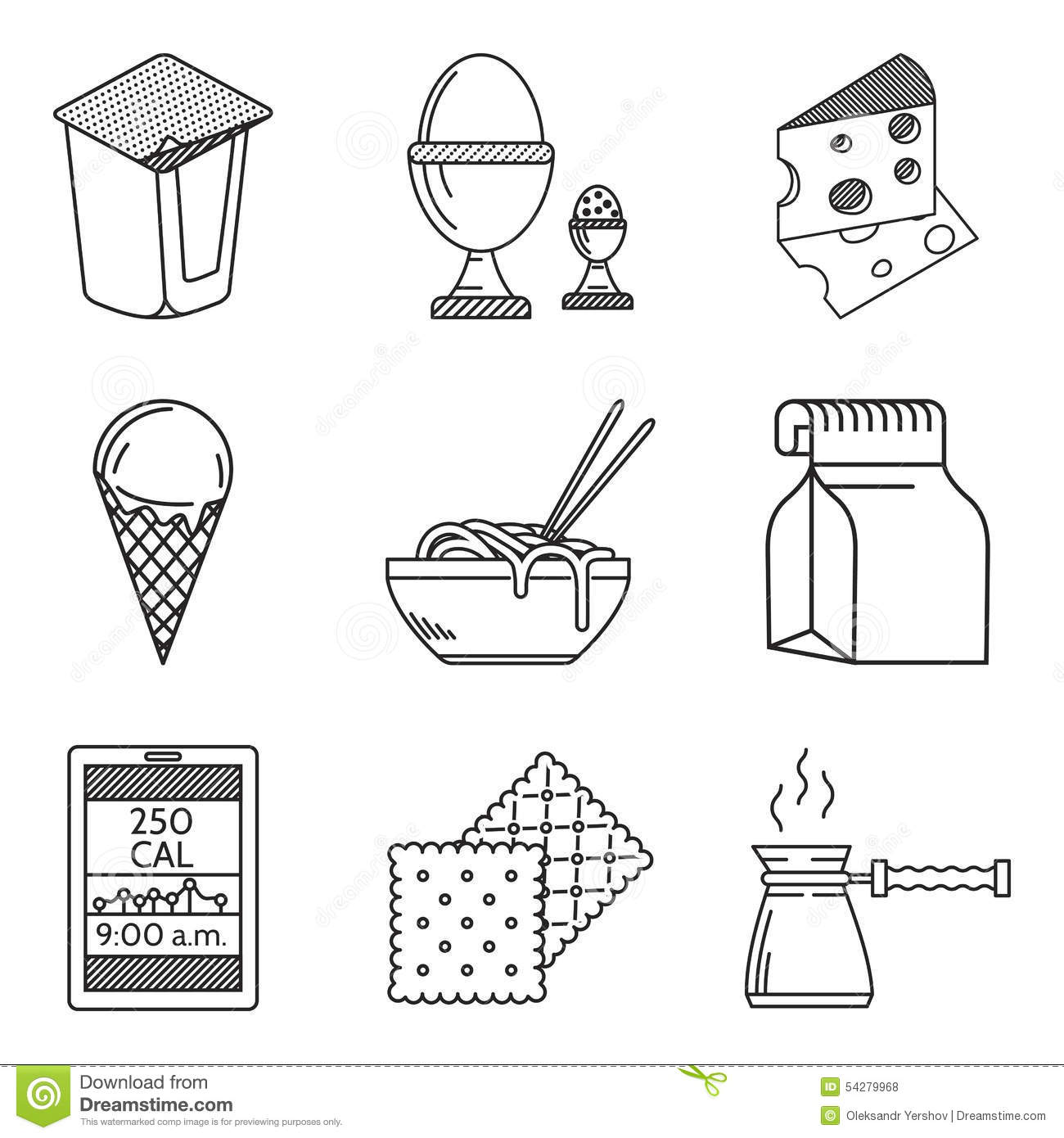 Diet Food Black Line Icons Stock Photography