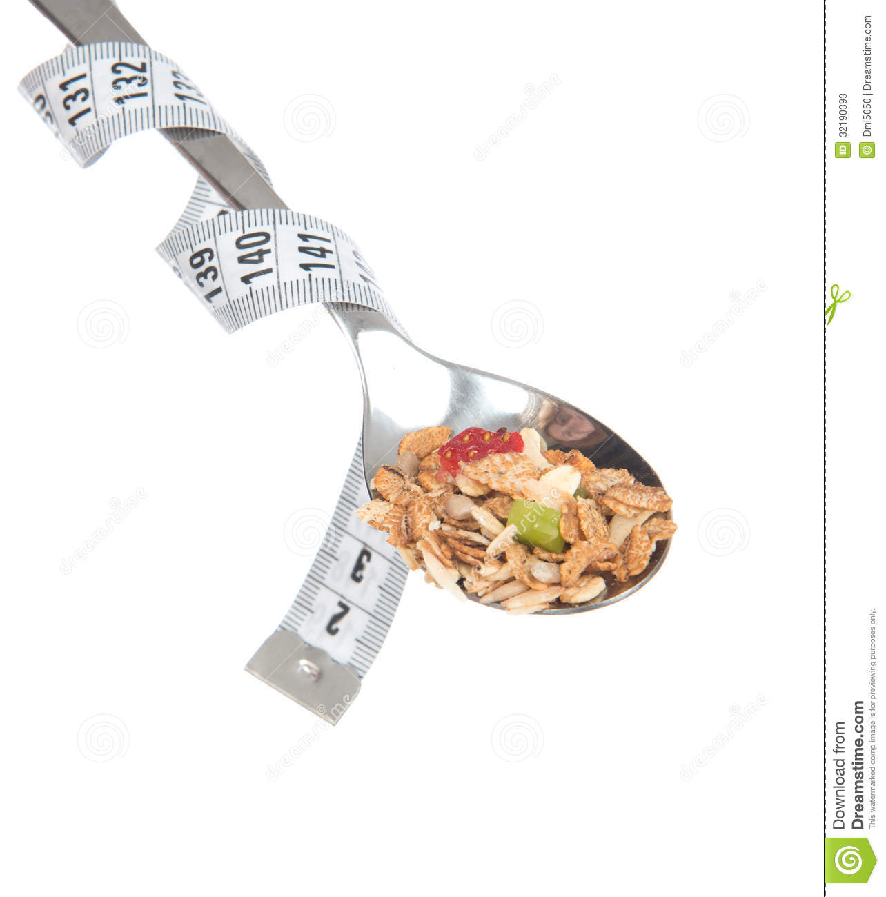 diet weight loss concept muesli cereals bowl spoon tape measure centimetr isolated white background 32190393