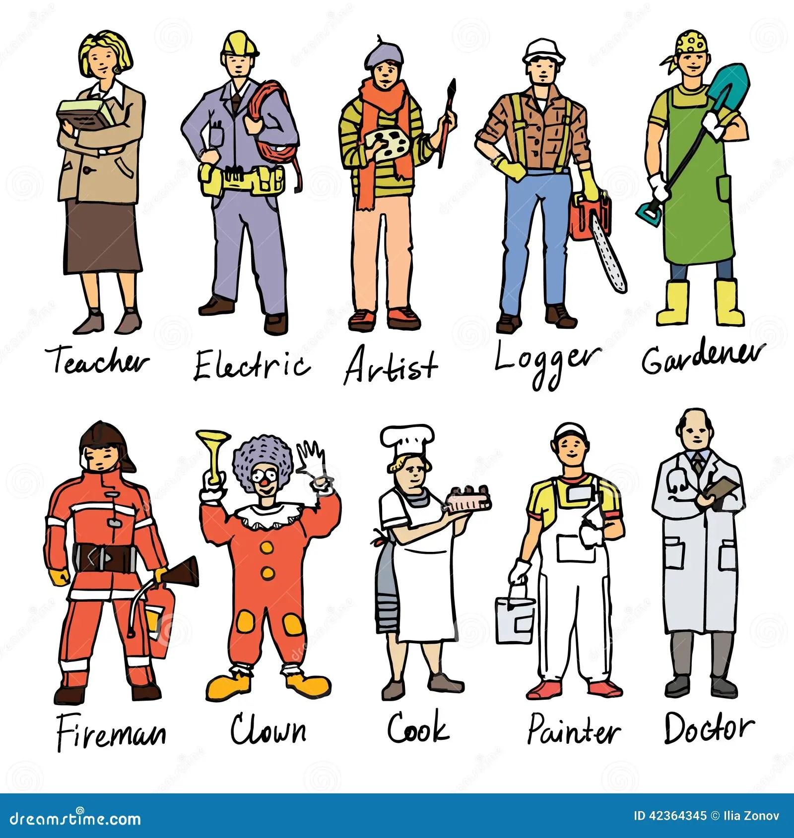 Differents Dessins De Personnes Illustration De Vecteur