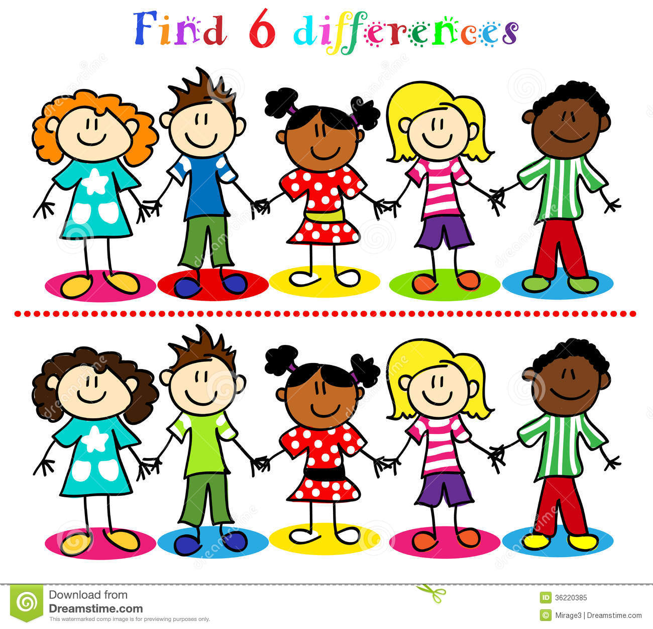 Difference Game With Kids Stick Figures Royalty Free Stock