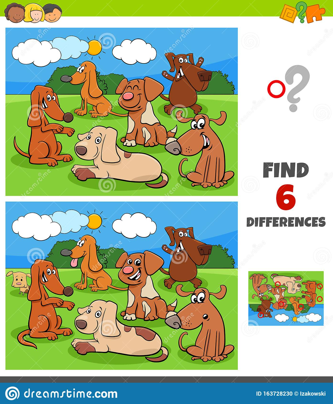 Differences Game With Dogs And Puppies Characters Stock