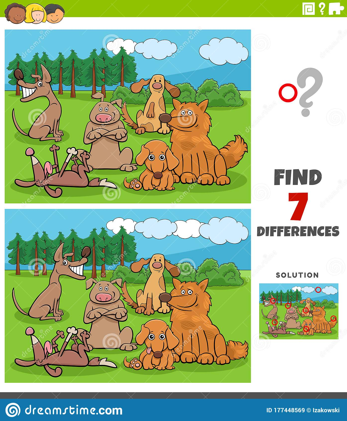 Differences Task With Cartoon Dogs Group Stock Vector