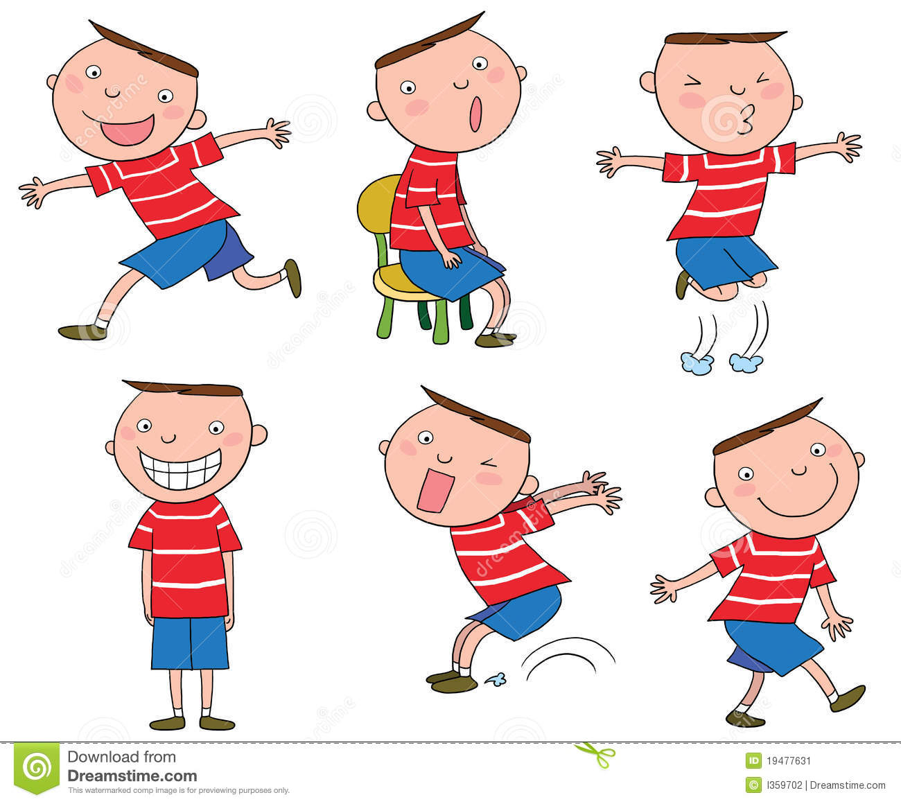 Different Actions Of A Cartoon Boy Stock Image